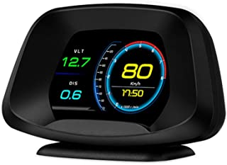 LANZMYAN Car HUD Universal Head Up Display Smart Digital Meter for All Vehicle with OBD2&GPS System RPM Speed Alarm Driving Reminder