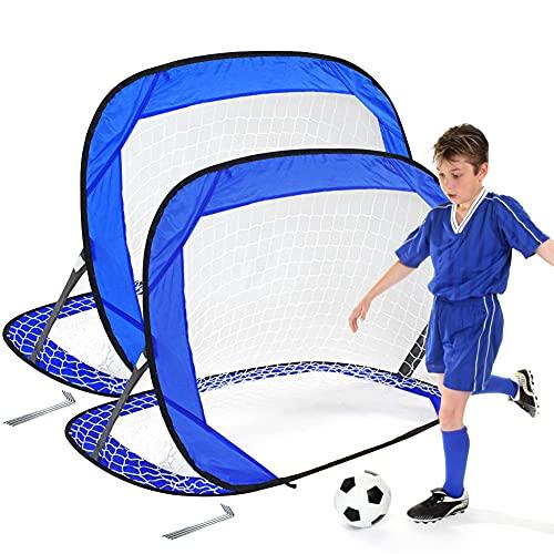 Punvot Portería de fútbol pop up para niños, plegable, portería de fútbol pequeña, juguete interactivo, fácil montaje, para niños y adultos, ideal para jardín, playa