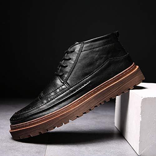 LOVDRAM Chaussures en Cuir pour Hommes dans Le Style Rétro Aide Bottes en Cuir Brock Hiver Sauvage Mode Casual Chaussures