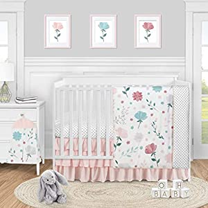 Sweet Jojo Designs Floral Rose Flowers Baby Girl Nursery Crib Bedding Set – 4 Pieces – Blush Pink Teal Turquoise Aqua Blue Grey Pop Flower Boho Shabby Chic Modern Colorful Watercolor Roses