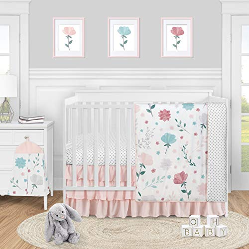 Sweet Jojo Designs Floral Rose Flowers Baby Girl Nursery Crib Bedding Set - 4 Pieces - Blush Pink Teal Turquoise Aqua Blue Grey Pop Flower Boho Shabby Chic Modern Colorful Watercolor Roses