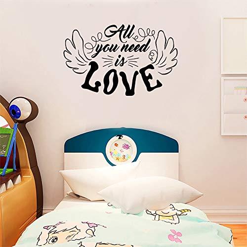 Todo el amor que necesitas, pegatinas de pared con alas de ángel, calcomanías de pared de inspiración de amor familiar, pegatinas de pared para el hogar papel tapiz A7 43x27cm