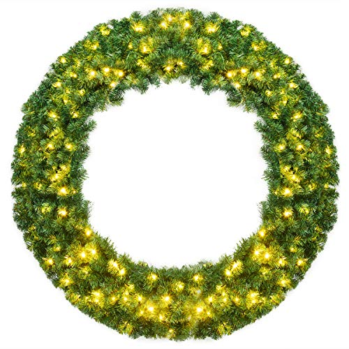 Goplus 48' Pre-lit Cordless Artificial Christmas Wreath, with 200 LED Lights and Timer, Hanging Xmas Decoration for Front Door Wall Home