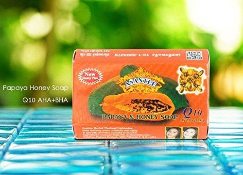 Asantee Papaya & Honey Soap + Q10 Skin Whitening Soap Asantee Herbal...