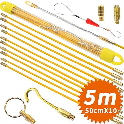 Akuoly Einziehband 5,0M Einziehdraht Einziehspirale mit Führungsfeder Einziehhilfen zur Kabelverlegung, 10Stück x 50cm, Gelb