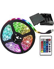 aijiaer - Tira de luces LED alimentada con pilas, 5050 2M, tira flexible de luz LED RGB que cambia de color, resistente al agua, 60 ledes de 5 V, incluye mando a distancia por radiofrecuencia