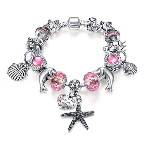 Presentski Charm Bracelets Bangles con perline cristallo rosa Tartaruga Starfish Inciso Cuore Stile Tre 18 centimetri