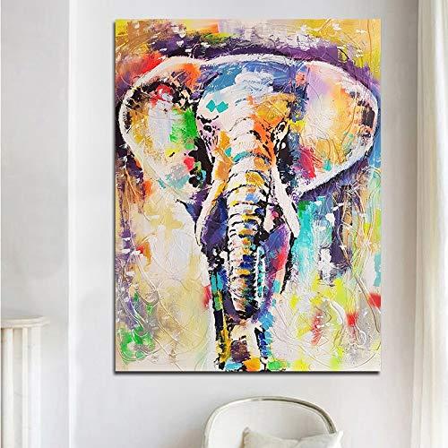 unbrand muurkunst schilderij abstract dieren oliedruk bonte olifanten poster muurkunst canvas schilderij voor woonkamer 40X50CM T