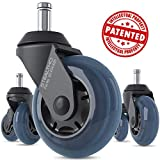 STEALTHO Replacement Office Chair Caster Wheels Set of 5 - Protect Your Floor - Quick & Quiet Rolling Over The Cables - No More Chair Mat Needed - Blue Polyurethane - Universal Stem 7/16 inch