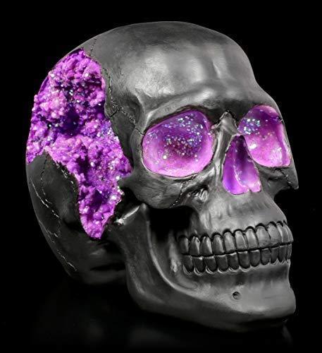 Figuren Shop GmbH Gothic Totenkopf mit lilafarbenen Kristallverzierungen - Geode Skull | Fantasy Dekofigur, handbemalt