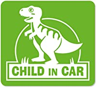 imoninn CHILD in car ステッカー 【マグネットタイプ】 No.71 ティラノサウルスさん (黄緑色)