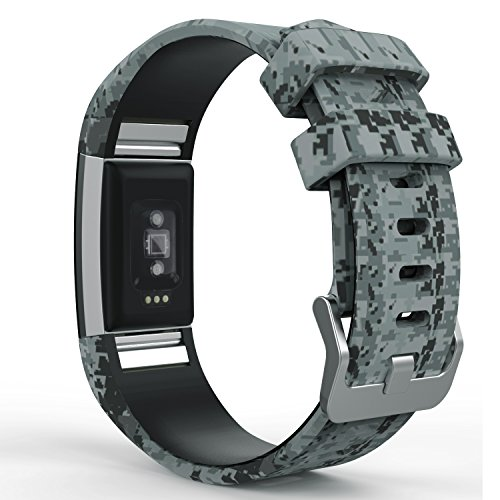 MoKo Armband für Fitbit Charge 2, [Muster Serie] Silikon Sportarmband Uhrenarmband Uhr Erstatzband für Charge 2 Smartwatch Zur Herzfrequenz und Fitnessaufzeichnung, Tarnung Grau