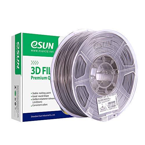 eSUN ABS Plus Filamento de Impresora 3D, Filamento ABS+ 1.75mm, Precisión Dimensional +/- 0.05mm, 2.2 LBS (1KG) de Carrete Materiales de Impresión 3D de Filamento, Plata