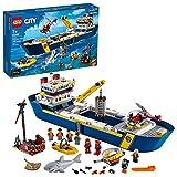 LEGO City Ocean Exploration Ship 60266, Toy Exploration Vessel, Mini Helicopter, Submarine,...