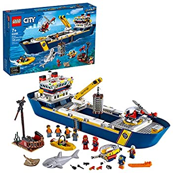 LEGO City Ocean Exploration Ship 60266 Toy Exploration Vessel Mini Helicopter Submarine Shipwreck with Treasure Lifeboat Stingray Shark Plus 8 Minifigures  745 Pieces