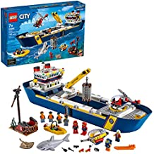 LEGO City Ocean Exploration Ship 60266, Toy Exploration Vessel, Mini Helicopter, Submarine, Shipwreck with Treasure, Lifeboat, Stingray, Shark, Plus 8 Minifigures (745 Pieces)