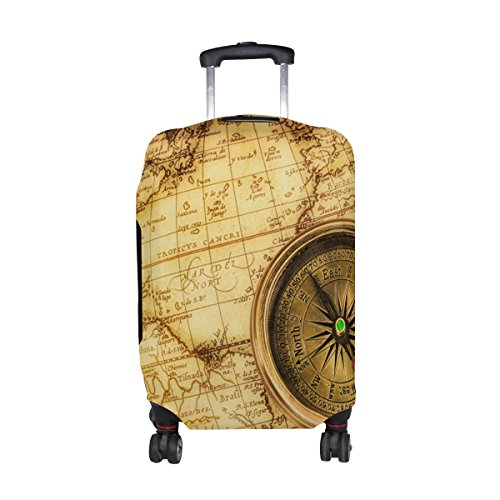 Vintage Old World Map Travel Luggage Protector Baggage Suitcase Cover Fits 26-28 Inch Luggage