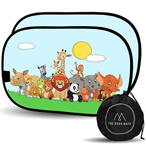 2 Tendine parasole auto bambini 48x31cm - Statiche adesive senza ventose - Ottima protezione raggi UV 80g/m² - Tendine auto bambini nere oscuranti con animali - Coprisole auto bambini