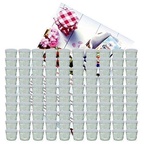 MamboCat 100er Set Sturzglas 230 ml Marmeladenglas Einmachglas Einweckglas to 82 weißer Deckel incl. Diamant-Zucker Gelierzauber Rezeptheft