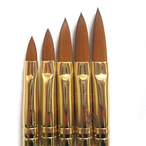 Pixnor 5pcs Bricolage Acrylique Ongle Art UV Gel Sculpture Stylo Pinceau Poudre Liquide No.12.10.8.6.4