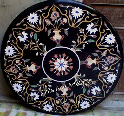 Mesa de comedor de mármol negro con incrustaciones de piedra de piedra preciosa con aspecto elegante de 100 cm