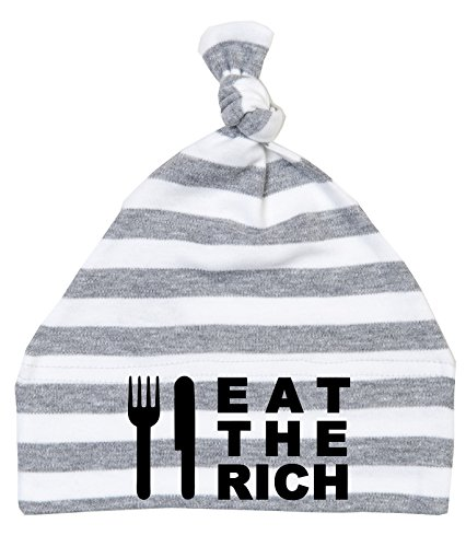 Eat The Rich simple nœuds Baby Bonnet Gris/Blanc Rayures
