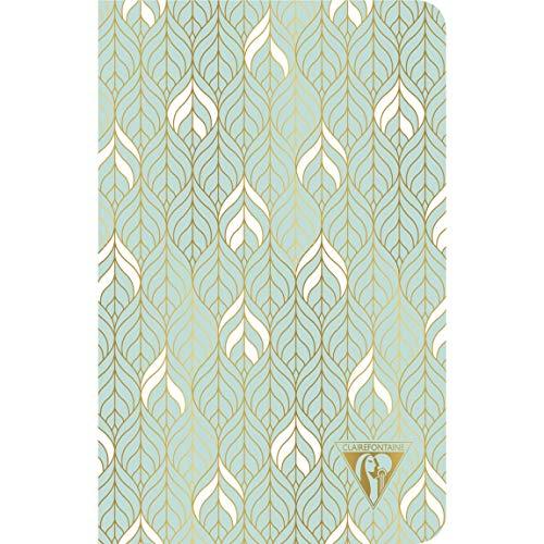 Clairefontaine 193306C Notizbuch Neo Deco Frühlings Sommer Kollektion, mit Fadenbindung, 11 x 17cm, 48 Blatt, liniert, 90g, elfenbeinfarbiges Papier, 1 Stück, Wassergrün