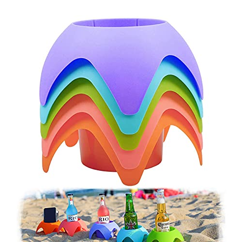 Beach Accessories for Vacation,Beach GearBeach Cup Holders (Multicolor, 5 Pack)