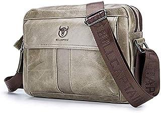 Nfudishpu Men Leather Shoulder Messenger Bag Men's Shoulder Bags First Layer Leather Shoulder Crossbody Bag Sports Casual ...