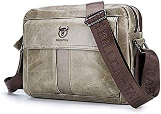 Nfudishpu Men Leather Shoulder Messenger Bag Men's Shoulder Bags First Layer Leather Shoulder Crossbody Bag Sports Casual Crossbody Men's Bag Crossbody Small Satchel (Color : Brass, Size : L)