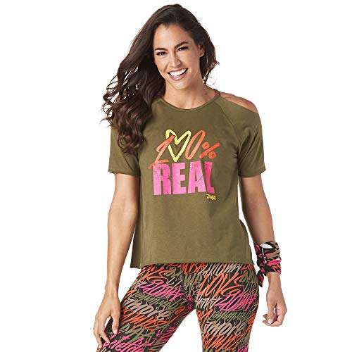 Zumba Athletic Workout Cold Shoulder Tops for Women Fashion Print Design Tee Shirt