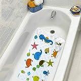 WARRAH Non Slip Baby Bath Mat for Kids and Toddler - Slip Resistant Square Bath Mats for Tub and Bathroom Floor Shower - No Slip Bathtub Matts for Kids (Underwater World FHD-03)