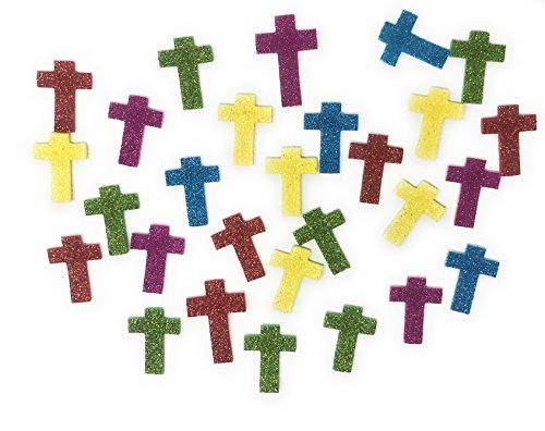 500 Piece Mega Bulk Glitter Cross Foam Craft Kit Stickers Assortment