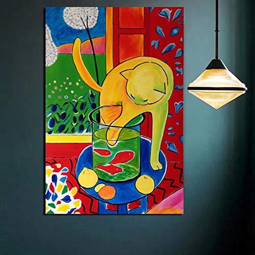 yaonuli Decoración del hogar Lienzo de Arte Matisse Gato Pesca Pintura impresión Sala de Estar Animal Modular Cartel Retro Pintura sin Marco 70x105 cm