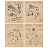 Vintage Soccer Patent Art Poster Prints, Set of 4 (8x10) Unframed Photos, Great Wall Art Decor Gifts Under 20 for Home, Office, Garage, Man Cave, Shop, Student, Teacher, Coach, FIFA Futbol Fan