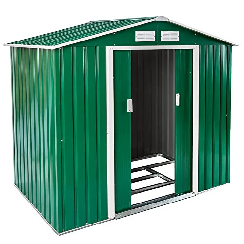 TecTake Garden Pent Metal Shed Greenhouse Tool Storage with Double Doors Saddle Roof | 214x130x185 cm | with Foundation | grey (Type 1 | green | no. 402182)