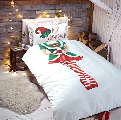 Sleepdown Elf Yourself Selfie Christmas Xmas Duvet Quilt Cover & Pillowcase Elf Duvet set (Girls - Single)