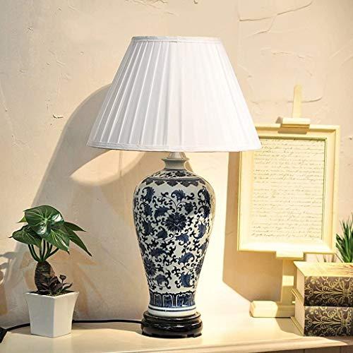 XFXDBT Lámpara de mesita de noche American Country Cerámica Lámpara de mesa Dormitorio Luz de cama Luz de Luz de Luz Estudio Azul y Blanco Porcelana Decorativo Escritorio Lámpara Interruptor Interrupt