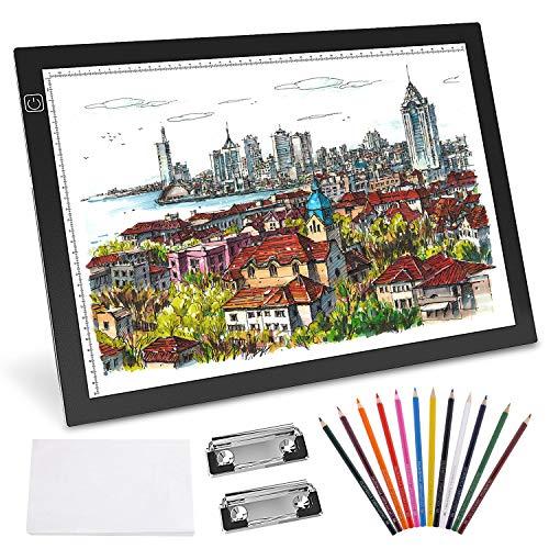 Gvoo A3 - Mesa luminosa LED, caja de luz LED, ultrafina, control táctil y brillo ajustable para dibujar, esbozar, superficie de dibujo, caligrafía