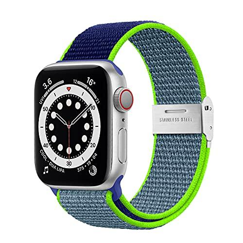 Netolo Solo Loop Kompatibel mit Apple Watch Armband 44mm 42mm 40mm 38mm 41mm 45mm, Dehnbarer Nylon Stoff Sport Armband Kompatibel mit iWatch Armband SE Series 7 6 5 4 3 2 1, 42mm/44mm/45mm Blau Grün