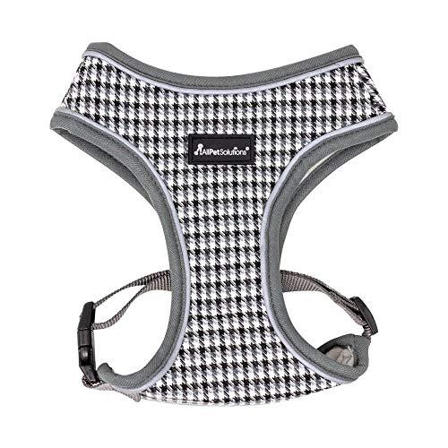 AllPetSolutions Dog Puppy Harness Soft Adjustable Reflective Comfortable Vest (S, Grey Pattern)