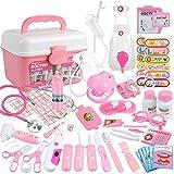Anpro Juego de 46 maletines médicos, juguetes médicos, juego de rol, maletín de médico, juego de rol, regalo para niños (rosa)