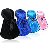 4 Pcs Wave Durags (2 Pcs Velvet Durags and 2 Pcs Soft Durags) – Premium Headwraps with Extra Long Tail for 360 Waves