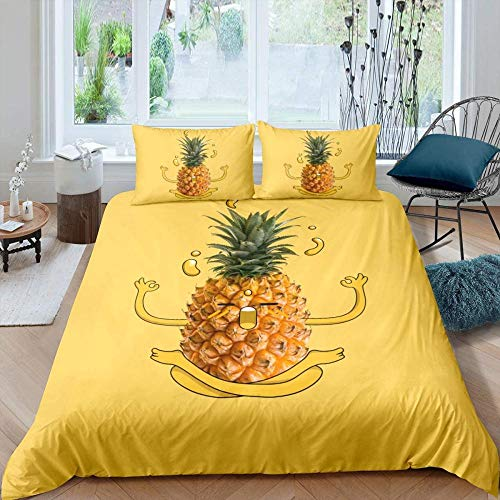 RONGXIE Boys Duvet Cover Yellow Background Tropical Fruit Yellow Pineapple - Double (200 X 200 Cm) - 3D Printed Reversible Duvet Cover Soft Bedding Cover Skin-Friendly Cover With Pillowcase Fashion