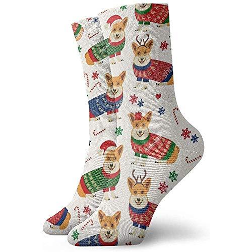 Dydan Tne Neuheit Cool Crazy Funny Dress Socks - Weihnachtsmuster mit Corgis Socken