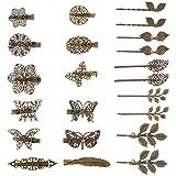 22 Piezas de Clips de Pelo Vintage Pinza de Pelo en Forma de Hoja Bronce Clip de Cabello en Forma de Flor Mariposa Corazón para Chicas y Mujeres, Estilos Mezclados
