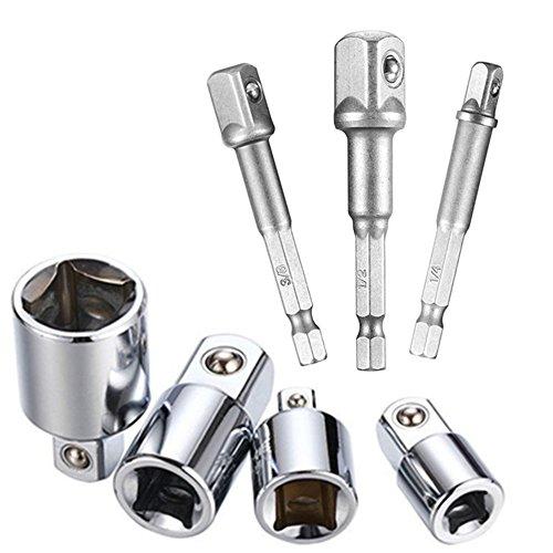 Feifox Stecknuss Adapter 4-tlg 1/4 auf 3/8-3/8 auf 1/4 Zoll - 3/8 auf 1/2-1/2 auf 3/8+Akkuschrauber Stecknuss Adapter Steckschlüssel Nuss Set 3-teilig 1/4 3/8 / 1/2 Zoll (7-teiliges)