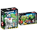 PLAYMOBIL Ghostbusters Muñeco Marshmallow, a Partir de 6 Años (9221) + Ghostbusters Slimer con Stand de Hot Dog, A Partir de 6 Años (9222)