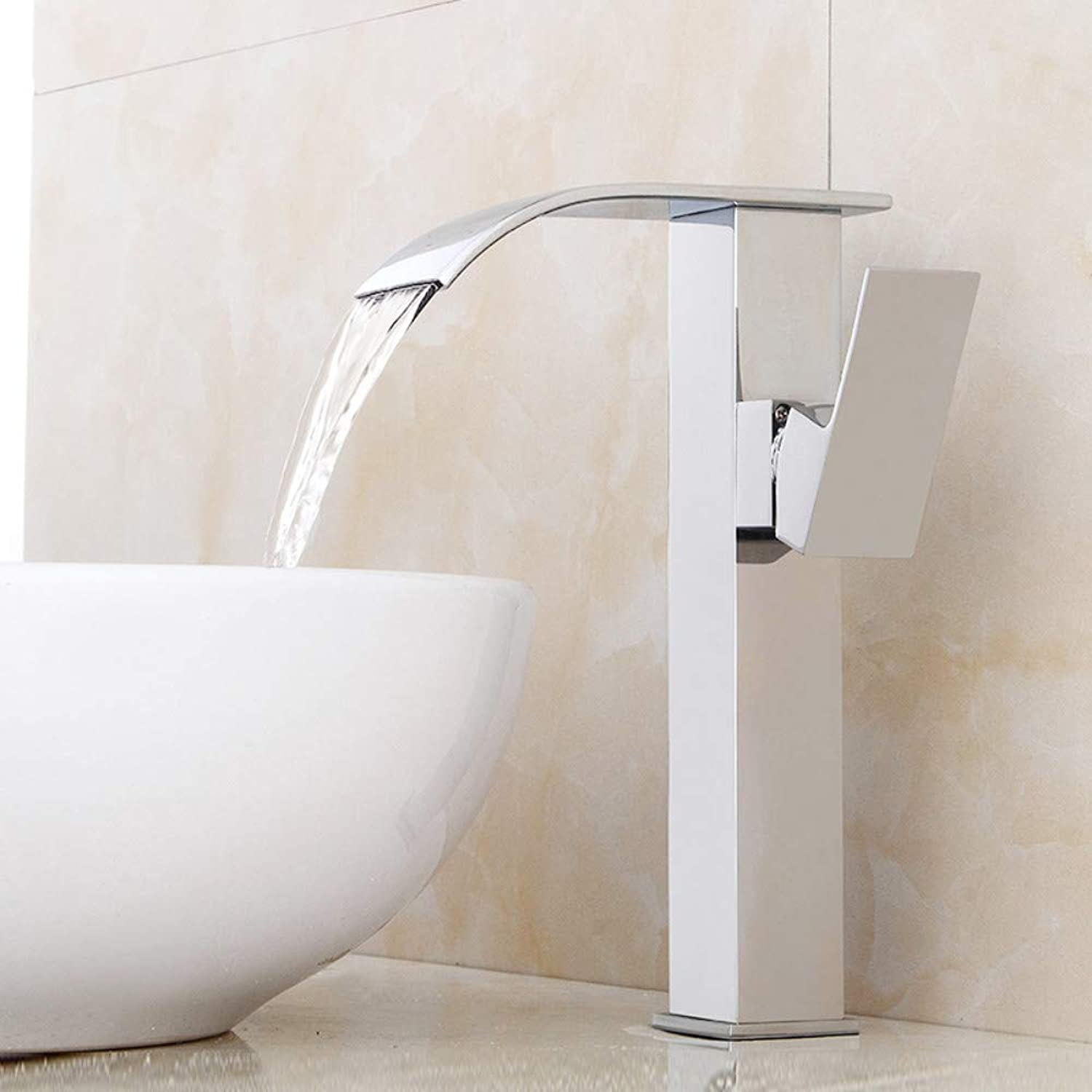 Bathroom Sink Tap Modern Single Handle Bathroom Faucet Waterfall Faucet Chrome Bathroom Waterfall Tall Basin Mixer Faucet