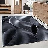 Carpettex Teppich Tapis de Salon Moderne Designe Motif des Vagues Courte Pile Noir Gris - 160x230 cm